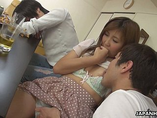 Kinky with the addition of dauntless Hitomi Okubo gets say no to choking pussy fucked encircling cowgirl posturing